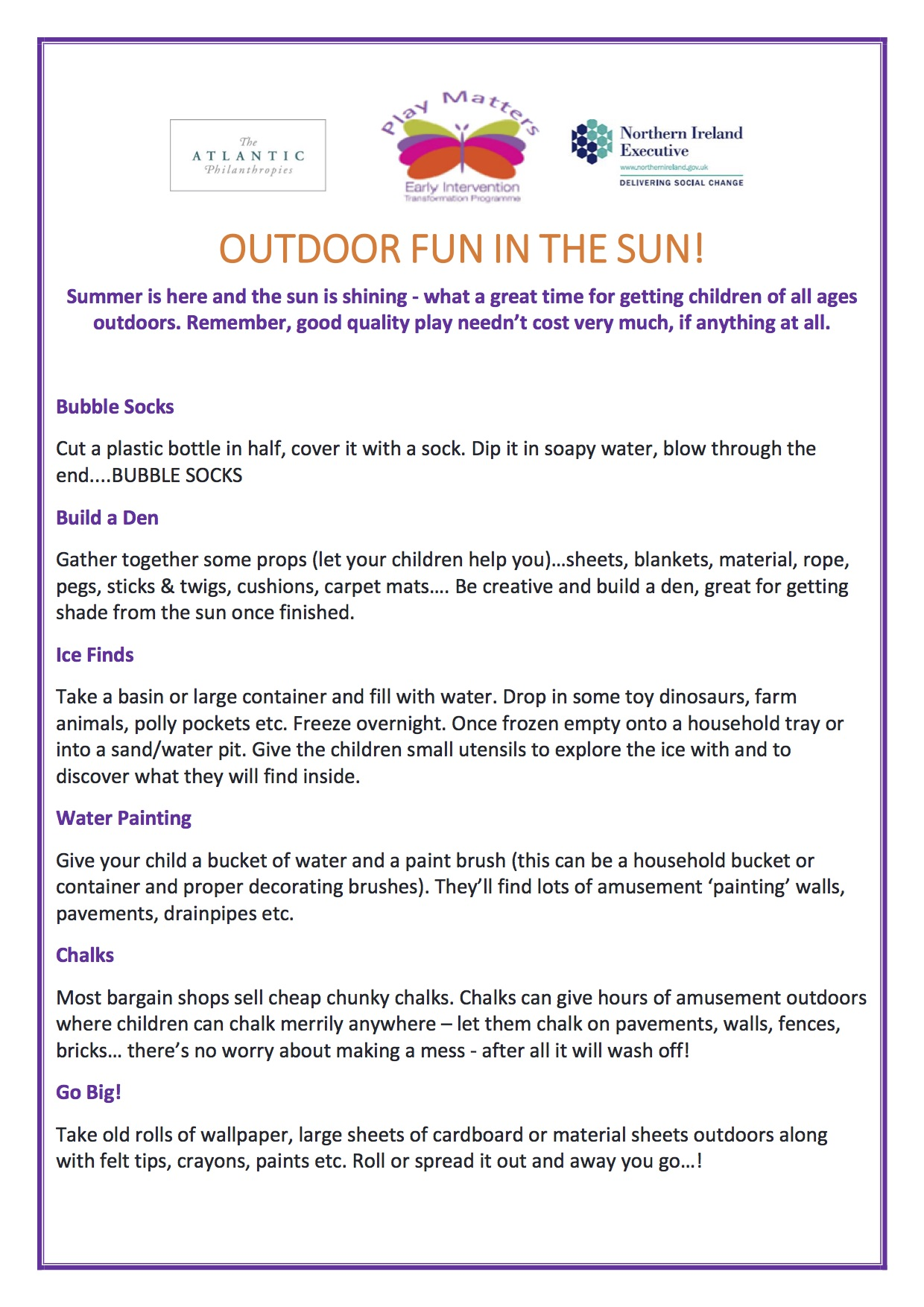 OUTDOOR FUN IN THE SUN - PLAY MATTERS page 1.