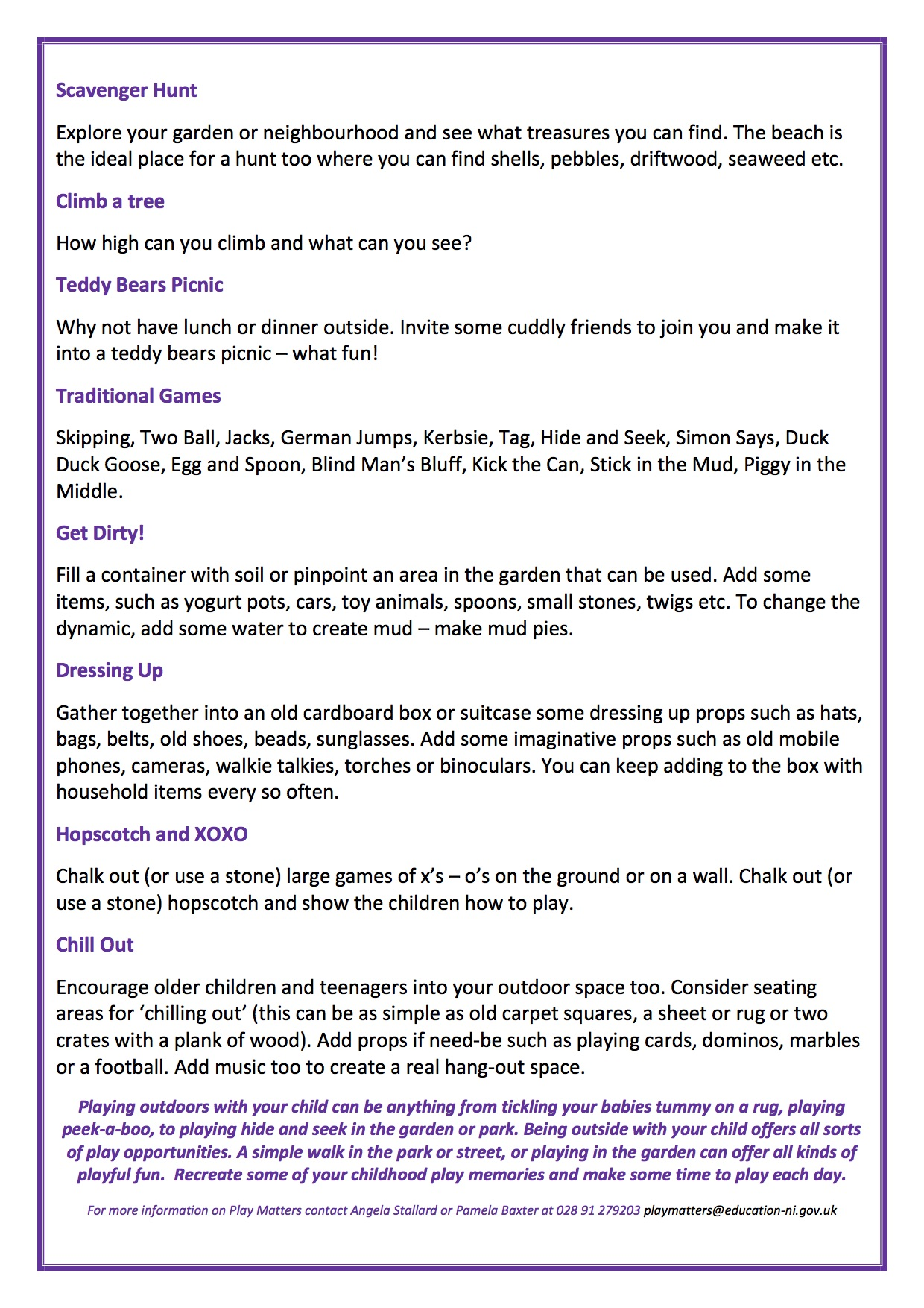 OUTDOOR FUN IN THE SUN - PLAY MATTERS page 2
