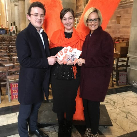 Pictured is Gareth Neill (BID Manager, Destination CQ BID), Eibhlín de Barra (Director Young at Art) and Brona Whittaker (Arts Manager, Arts & Business)